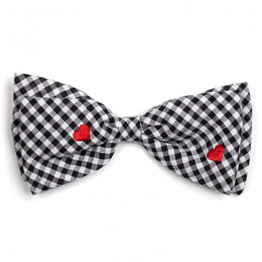 Dog Bow Tie Black Check with Red Hearts Collar Attachment