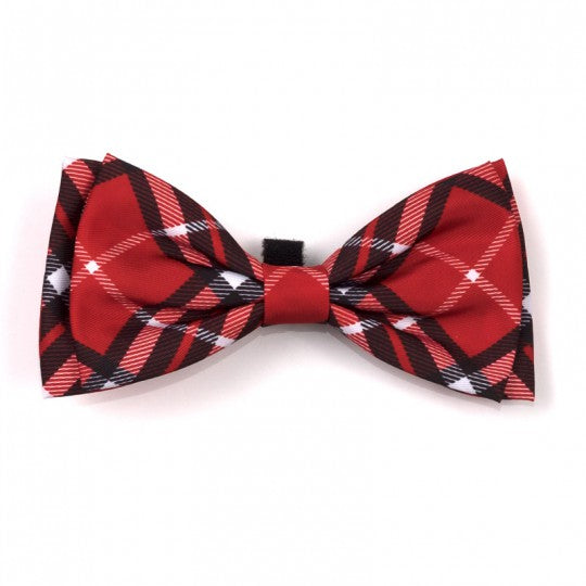 Dog Bow Tie Red Bias Plaid Collar Attachment