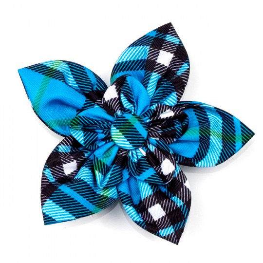 Dog Collar attachment Blue Plaid Flower