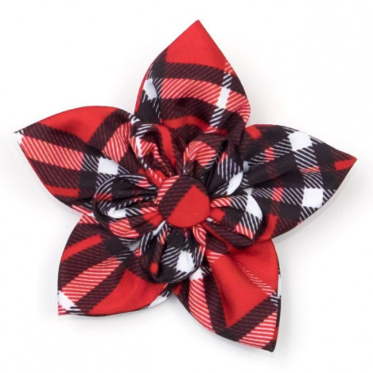 Dog Collar attachment Red Plaid Flower