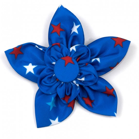Dog Collar attachment USA Patriotic Stars Flower