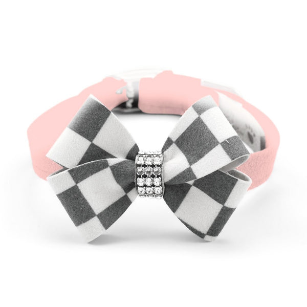 Windsor Check Nouveau Bow Collar puppy pink