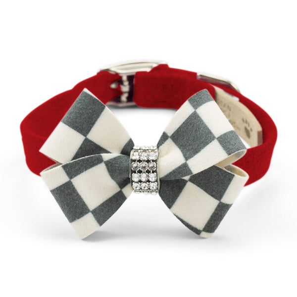 Windsor Check Nouveau Bow Collar red
