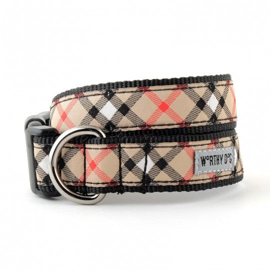 Dog Collar Tan Beige Plaid