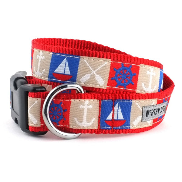Dog Collar Anchors Boats Red Blue