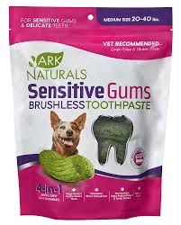Ark Naturals Sensitive Gums Brushless Toothpaste 4-in-1 Senior Dog Dental Chews, Medium