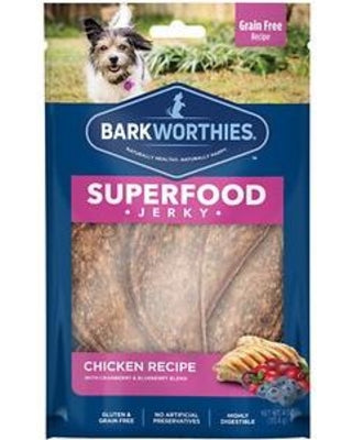 Barkworthies Chicken Cranberry Blueberry Superfood Jerky Dog Treats 4oz