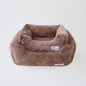 Luxury Dog Bed Plush Mocha Brown