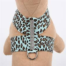 Luxury Dog Harness Blue Cheetah Ultrasuede® Swarovski Crystals®