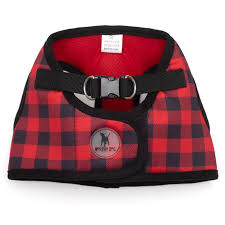Dog Harness Red Black Buffalo Plaid