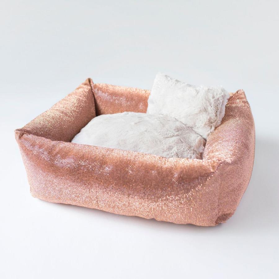 Luxury Dog Bed Champagne Gold Crystals by Hello Doggie