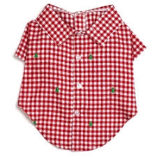 Dog Shirt Red Green Checker Trees