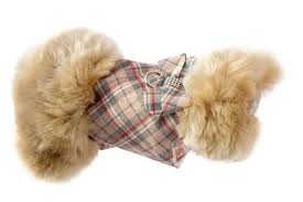 Dog Coat Plaid Beige Fur Big Bow Swarovski® Crystals