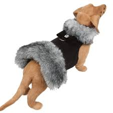 Dog Coat Black Grey Fox Fur Big Bow Swarovski® Crystal