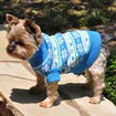 Dog Sweater Snowflakes Hearts Blue Green