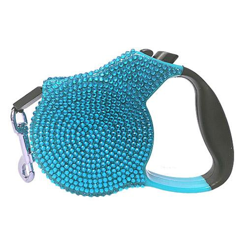 Dog Retractable Leash Blue Crystals by Parisian Pet