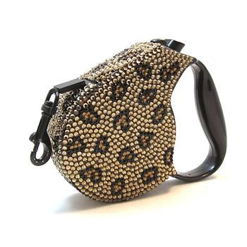 Dog Leash Retractable Crystal Leopard by Parisian Pet