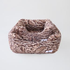 Luxury Dog Bed Plush Leopard Mink