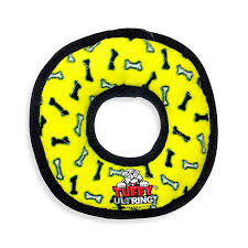 Dog Toy Tuffy® Ultimate™ Yellow Ring Fleece Paw Print