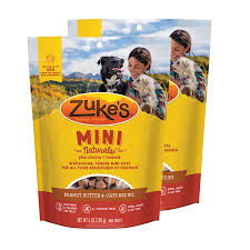 Zukes Mini Naturals Peanut Butter & Oats Recipe Dog Treats, 6oz bag