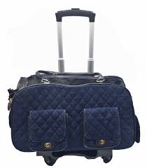 Luxury Pet Carrier Quilted Blue Denim Airline Approved Removable Wheels