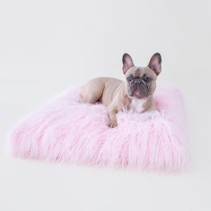 Luxury Dog Bed Pink Mat Himalayan Yak Fur