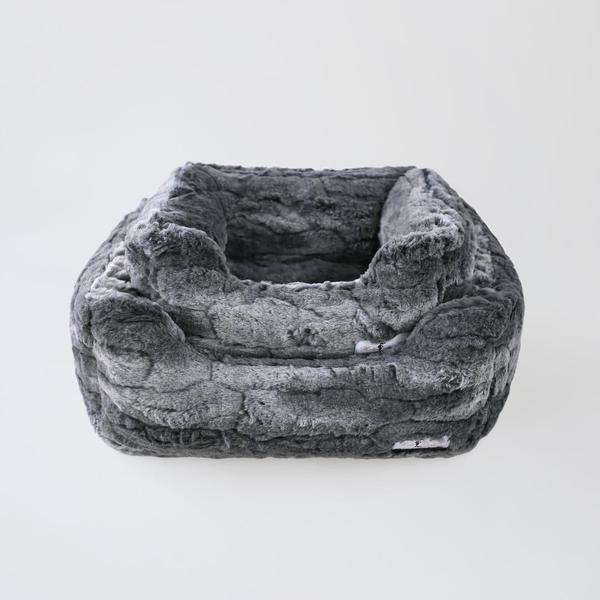Luxury Dog Bed Plush Grey Mink