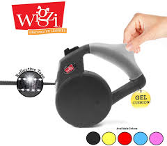 Wigzi Black Retractable Gel Handle Leash with Night Light