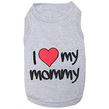 Dog Tank Top Grey I Love Mommy Red Heart