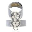 Luxury Dog Collar Grey Platinum White Flower Ultrasuede®  Swarovski Crystals®