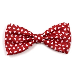 Dog Bow Tie Red Hearts Valentine Collar Attachment