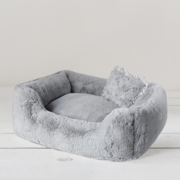 Luxury Designer Dog Bed Grey Plush with Pillow