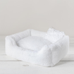Luxury Dog Bed White Plush with Pillow