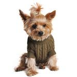 Dog Sweater Herb Green Cable Knit