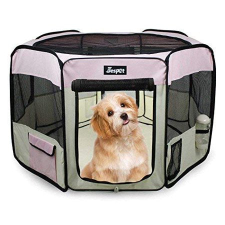 Jespet Dog Soft Playpen Pink Collapsible with Travel Bag