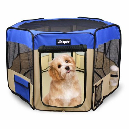 Jespet Dog Soft Playpen Blue Collapsible with Travel Bag