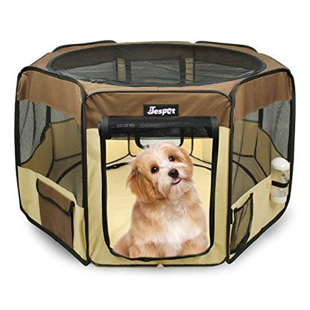 Jespet Dog Soft Playpen Brown Collapsible with Travel Bag