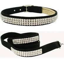 Dog Leash Black Luxury Designer Swarovski Crystals® Ultrasuede®