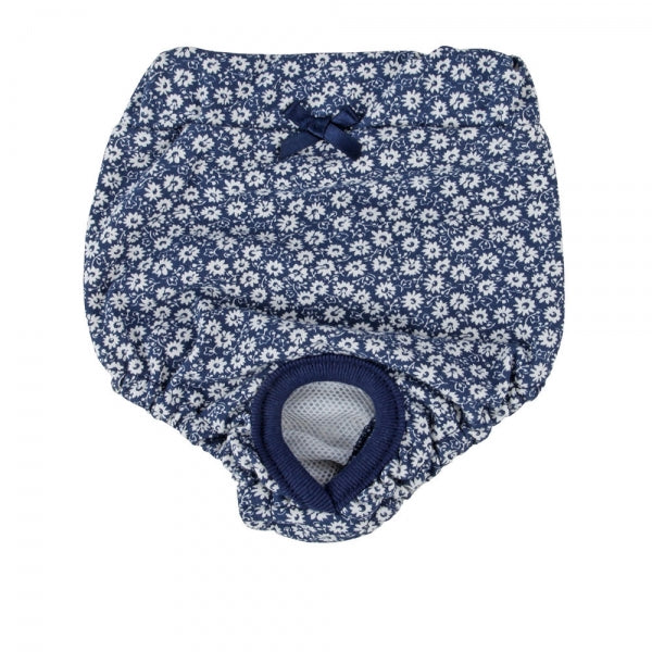Dog Sanitary Diapers Navy with White Flowers