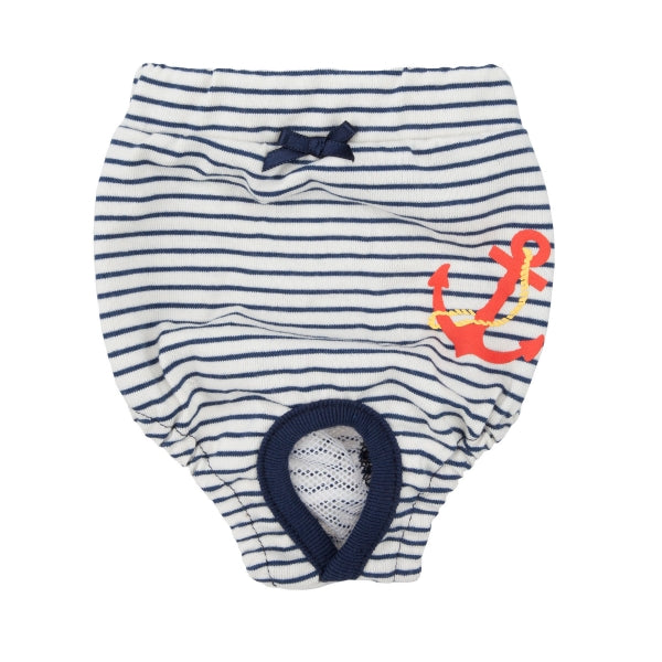 Dog Sanitary Diaper Nautical Anchor Red Navy White Small