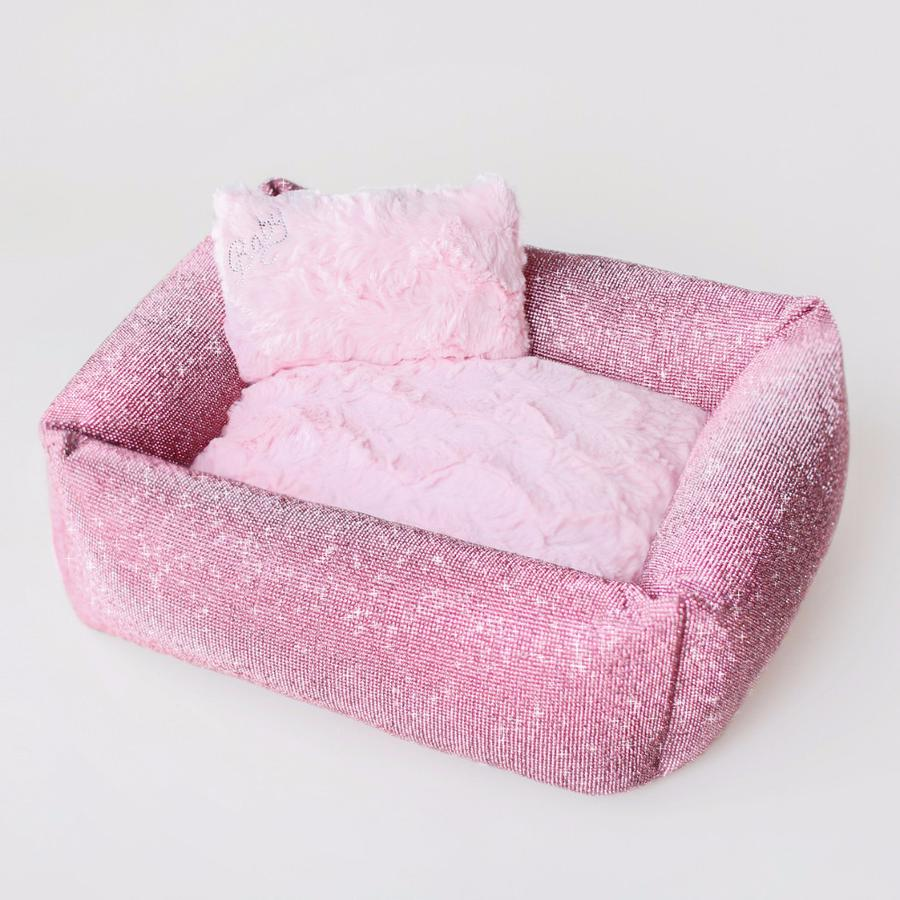 Luxury Dog Bed Pink Crystals by Hello Doggie