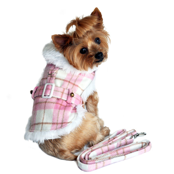 Dog Coat Pink Plaid Fur Trim with Leash X-Small