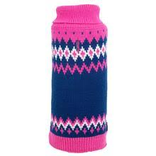 Dog Sweater Pink Blue Fairisle