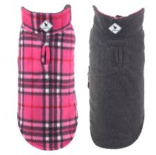 Dog Fleece Jacket Pink Grey Plaid Reversible by The Worthy Dog