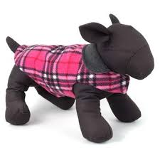 Dog Fleece Jacket Pink Grey Plaid Reversible