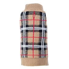 Dog Sweater Beige Tan Plaid