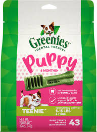 Greenies Puppy 6+ Months Teenie Size Dental Treats, 12 oz., Count of 43
