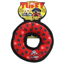 Dog Toy Tuffy® Ultimate™ Red Ring Fleece Paw Print