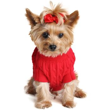 Dog Sweater Red Cable Knit by Doggie Design