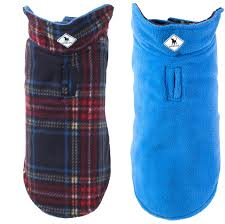 Dog Fleece Jacket Blue Plaid Reversible by The Worthy Dog